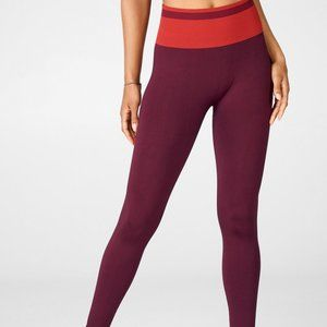 Fabletics Red High Waisted Seamless 7/8 Leggings M